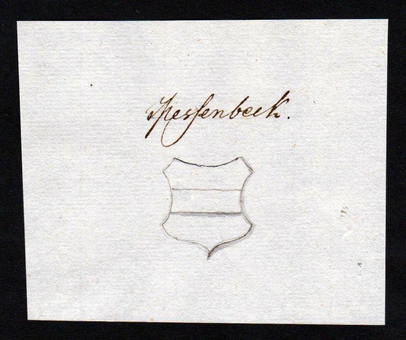 18. Jh. Messenbeck Handschrift Manuskript Wappen manuscript coat of arms 0