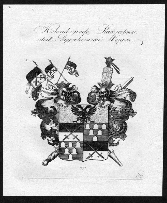 1790 - Pappenheim Wappen Adel coat of arms heraldry Heraldik Kupferstich 0