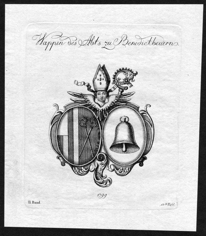 1790 - Benediktbeuern Wappen Adel coat of arms heraldry Heraldik Kupferstich 0