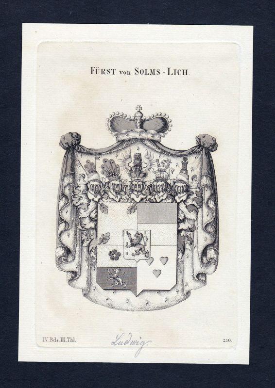 1820 Solms Lich Wappen Adel coat of arms heraldry Heraldik Kupferstich engraving 0