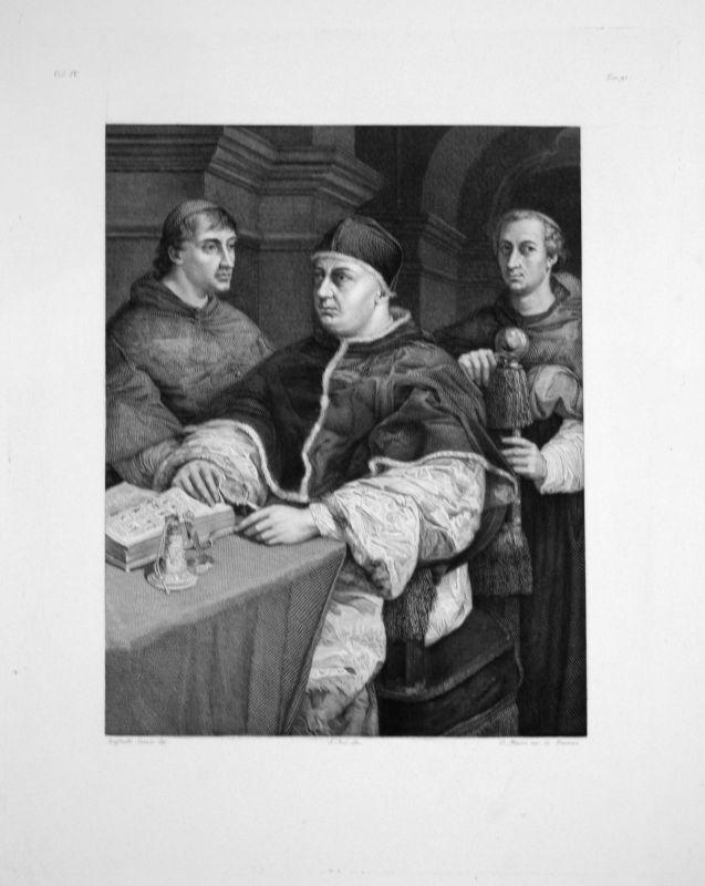 1840 - Raffaello Sanzio da Urbino - Leon X. - Radierung engraving gravure 0