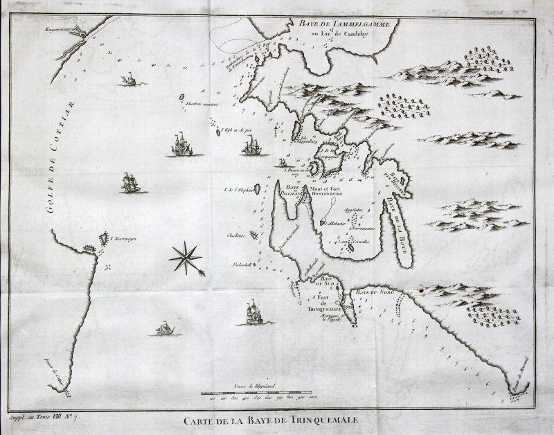 Trincomalee Sri Lanka Indien India Asien Asia Karte map Kupferstich Bellin