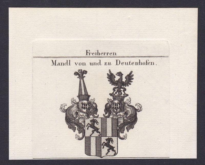 1820 Mandl Deutenhofen Wappen Adel coat of arms Kupferstich antique print 0