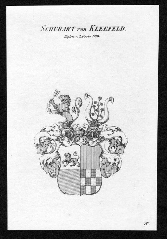 Ca.1820 Schubart von Kleefeld Wappen Adel coat of arms Kupferstich antique print 0