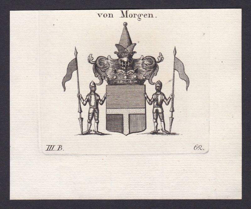 1820 Morgen Wappen Adel coat of arms heraldry Heraldik Kupferstich antique print 0
