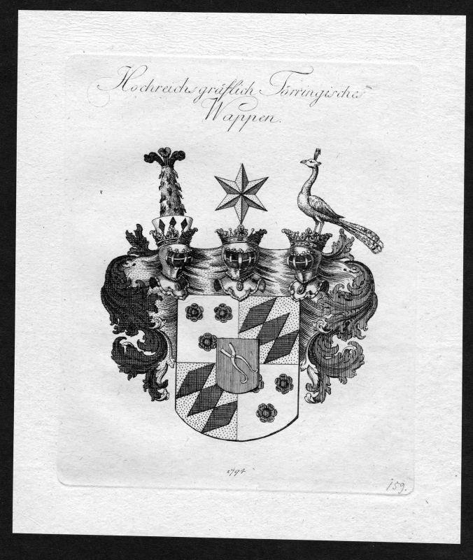 1790 - Toerring Törring Wappen Adel coat of arms heraldry Heraldik Kupferstich
