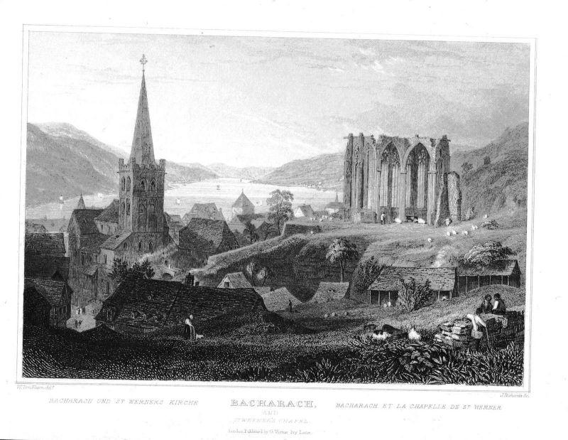 1840 - Bacharach am Rhein St. Werners Kirche Stahlstich engraving Original 0