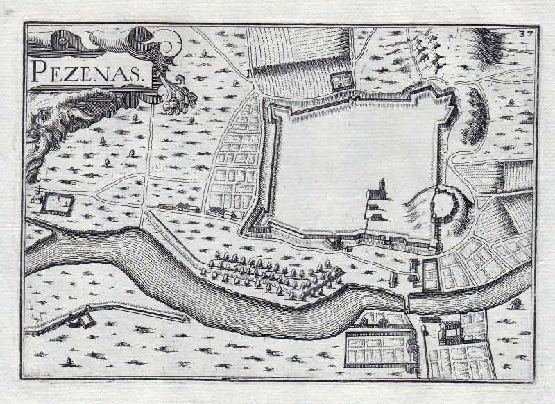 1630 Languedoc-Roussillon Herault France gravure estampe Kupferstich Tassin 0