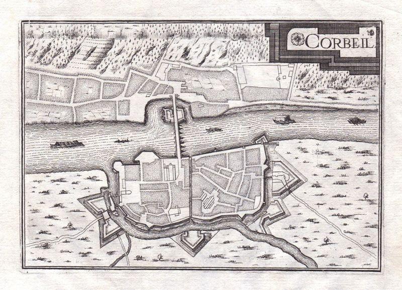 1630 Ile-de-France Corbeil-Essonnes France gravure estampe Kupferstich Tassin