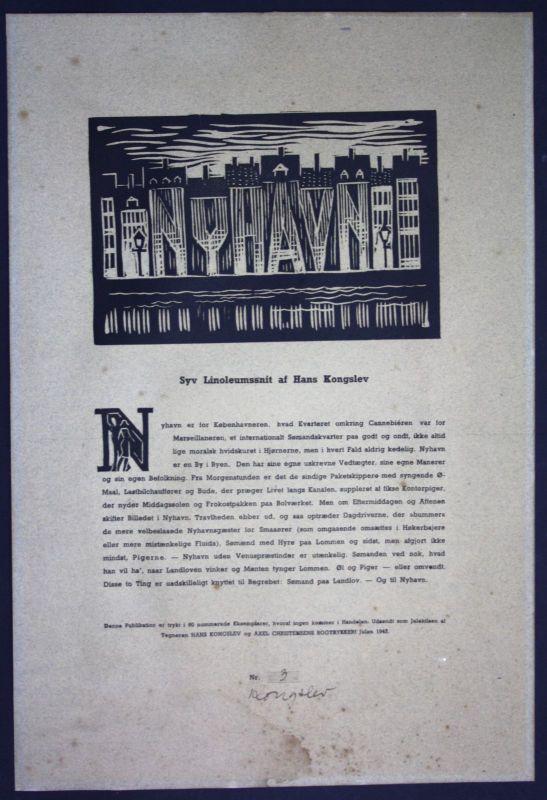 1943 Hans Kongslev Nyhavn Kobenhavn Kopenhagen Linolschnitt signiert