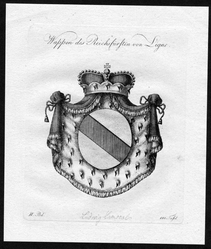 1790 - Ligne Wappen Adel coat of arms heraldry Heraldik Kupferstich 0