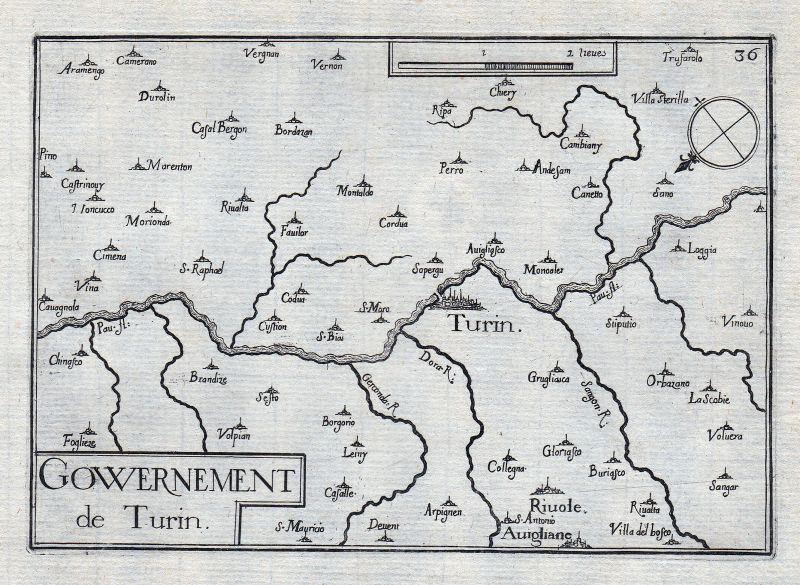 1630 Toxino Turin Italia gravure estampe Kupferstich Tassin 0