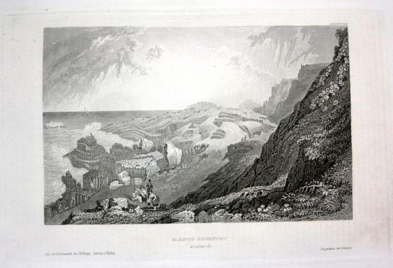 Ca. 1840 Giants Causeway Ireland Irland Ansicht view Stahlstich engraving 0