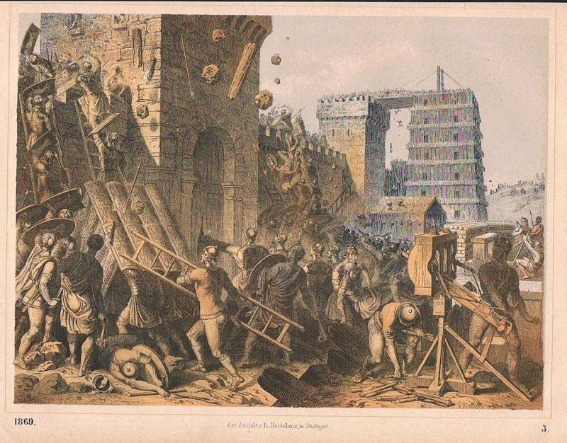 1869 - Sturm auf eine belagerte Stadt Krieg war Lithographie lithography 0