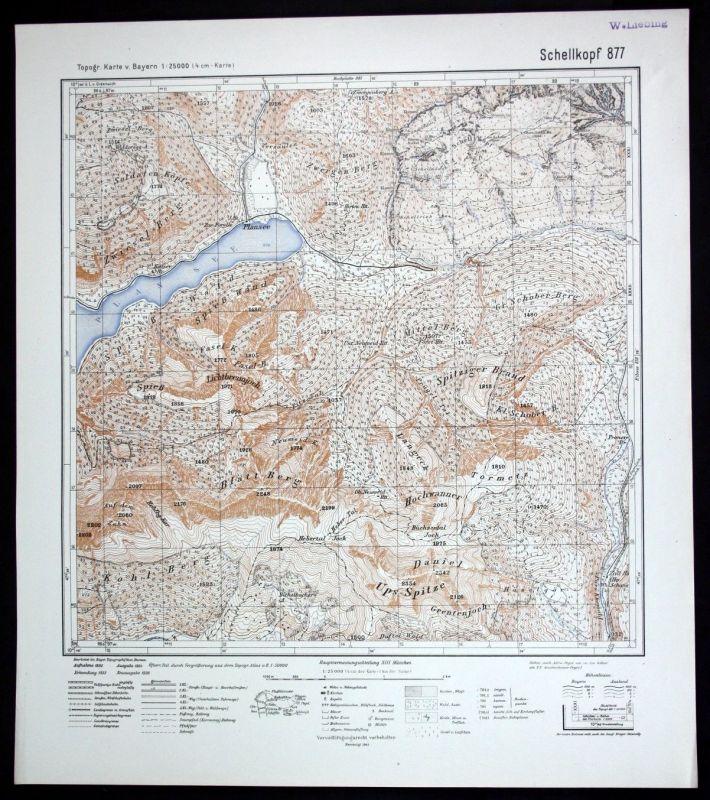 1941 Plansee Schellkopf Zugspitz Region Alpen 1:25000 Karte Meßtischblatt