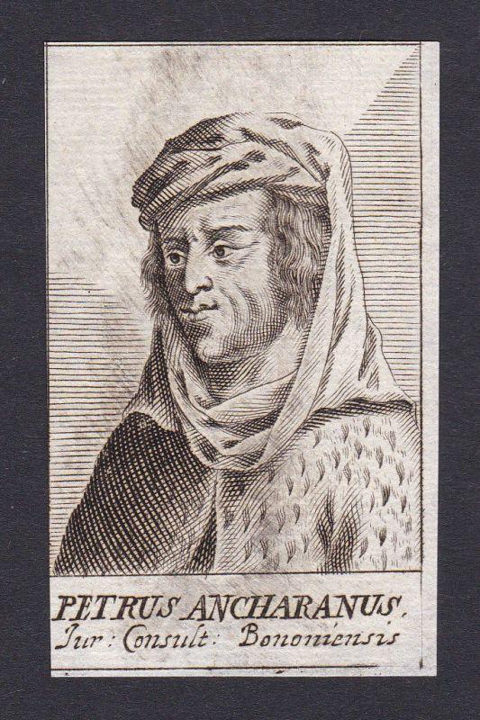 17. Jh. - Peter of Ancarano / jurist Bologna Portrait Kupferstich 0