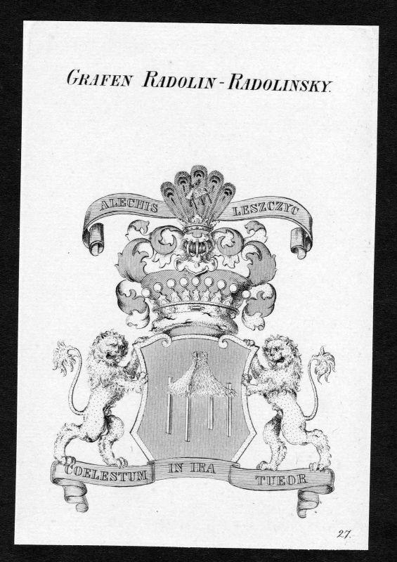 Ca. 1820 Radolin-Radolinski Wappen Adel coat of arms Kupferstich antique print 0