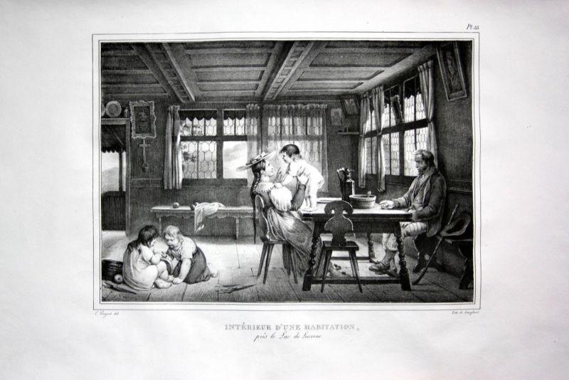 1825 Vierwaldstättersee Bauernstube Bauernhaus Schweiz Suisse Lithographie 0