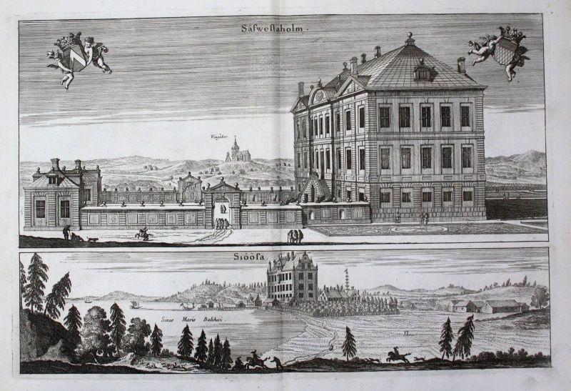 1710 - Sävstaholm Sjösa Vingakers Södermanland Kupferstich Dahlberg engraving 0