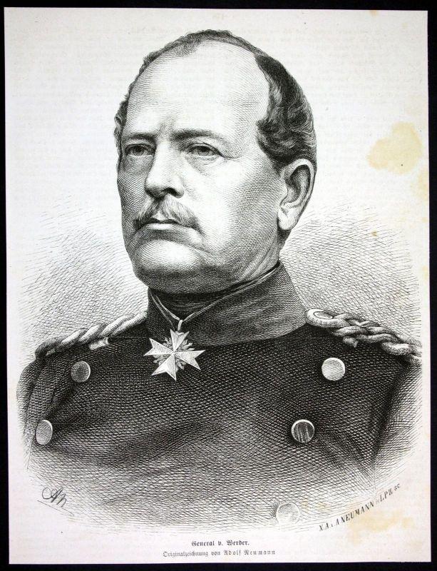1880 August v Werder General Preußen Infanterie Portrait Holzstich antique print 0