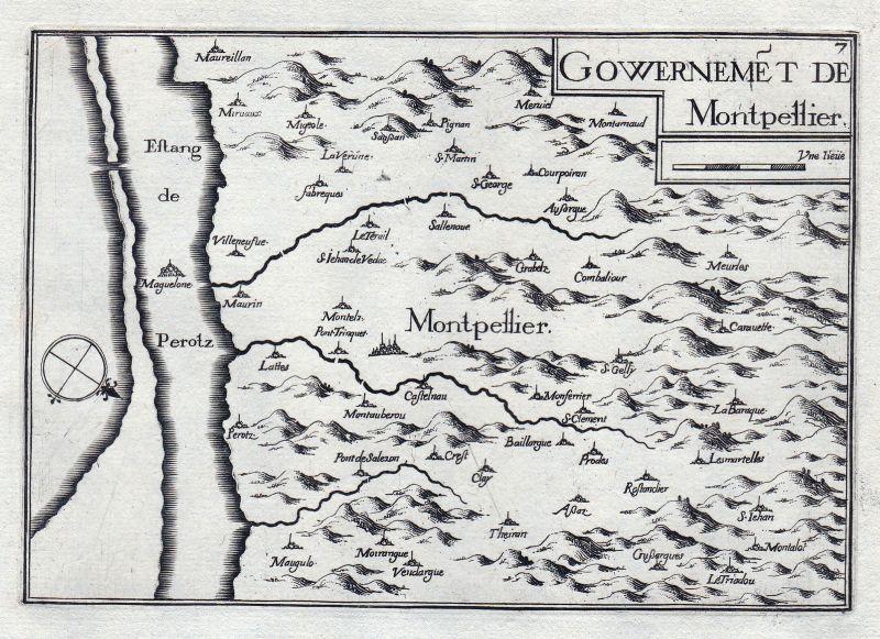 1630 Montpellier Okzitanien Hérault France gravure estampe Kupferstich Tassin