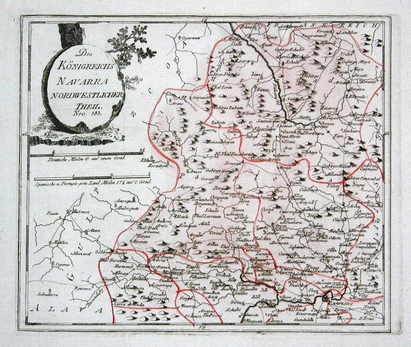 Spanien Spain Portugal Navarra Navarra Pamplona map Reilly engraving Kupferstich 0