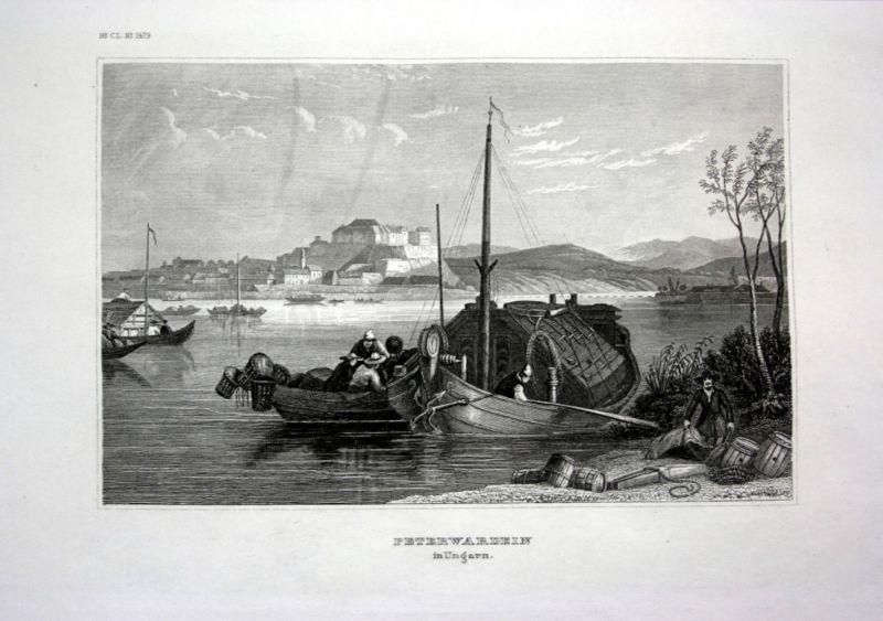 Ca. 1840 Petrovaradin Serbien Ungarn Serbia Ansicht view Stahlstich engraving