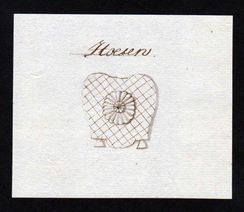 18. Jh. Hoesen Handschrift Manuskript Wappen manuscript coat of arms 0