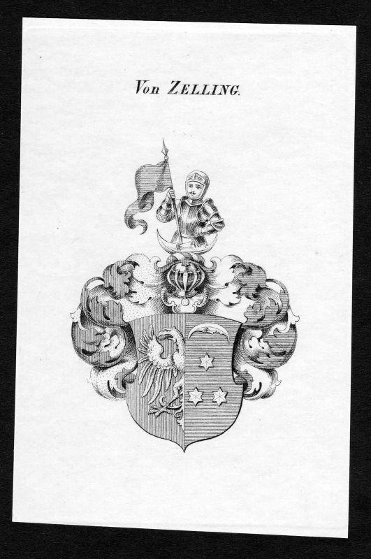 Ca. 1820 Zelling Wappen Adel coat of arms Kupferstich antique print heraldry 0