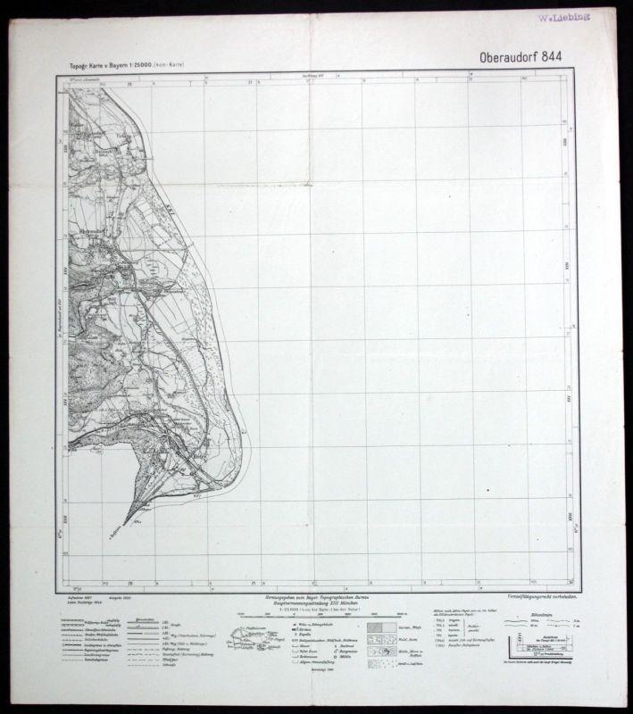 1944 Oberaudorf Urfarn Mühlbach Kiefersfelden Kiefer 1:25000 Karte Meßtischblatt