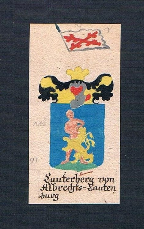 18. Jh. Lauterberg von Lautenburg Böhmen Manuskript Wappen Adel coat of arms 0