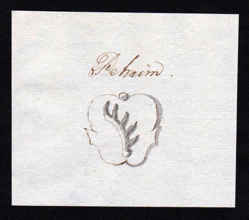 18. Jh. Pehaim Peheim Handschrift Manuskript Wappen manuscript coat of arms 0