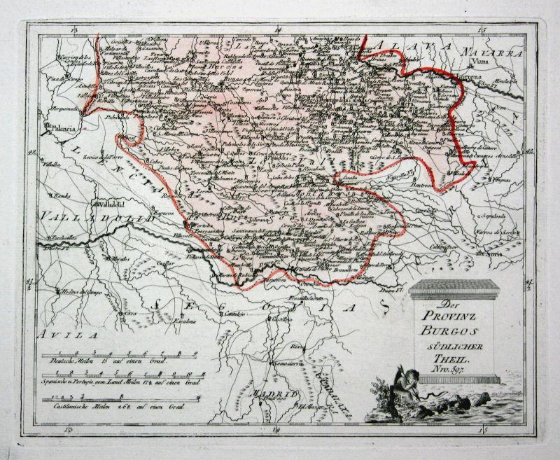 Spanien Spain Portugal Burgos Aranda de Duero map Reilly engraving Kupferstich
