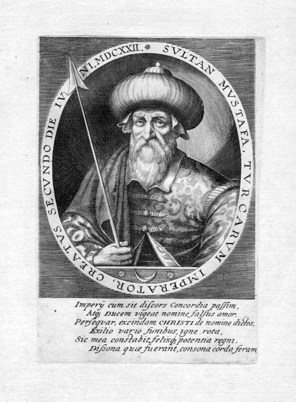 Ca. 1650 Mustafa I Sultan Turkey Türkei Portrait Kupferstich antique print