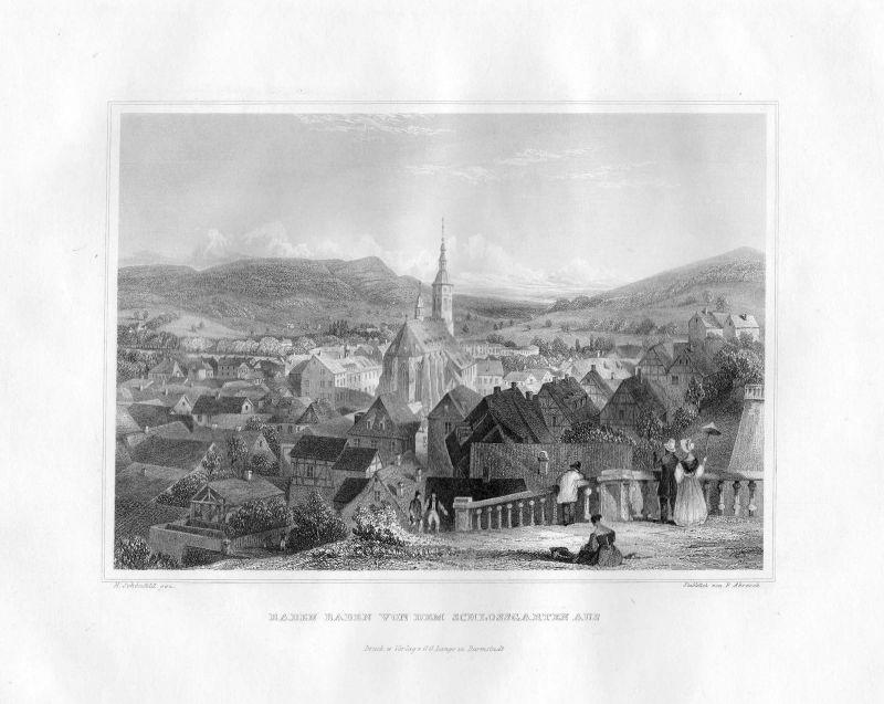 1850 Baden Schlossgarten Baden-Württemberg Stahlstich Abresch Schönfeld