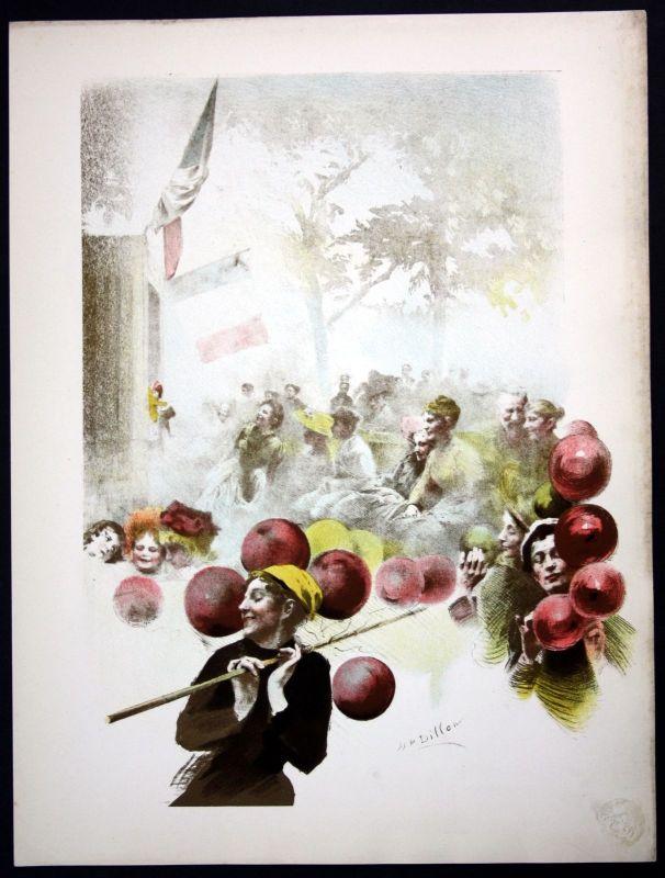 1897 Henri Dillon Art Nouveau Jugendstil Lithographie Poster estampe Moderne 0