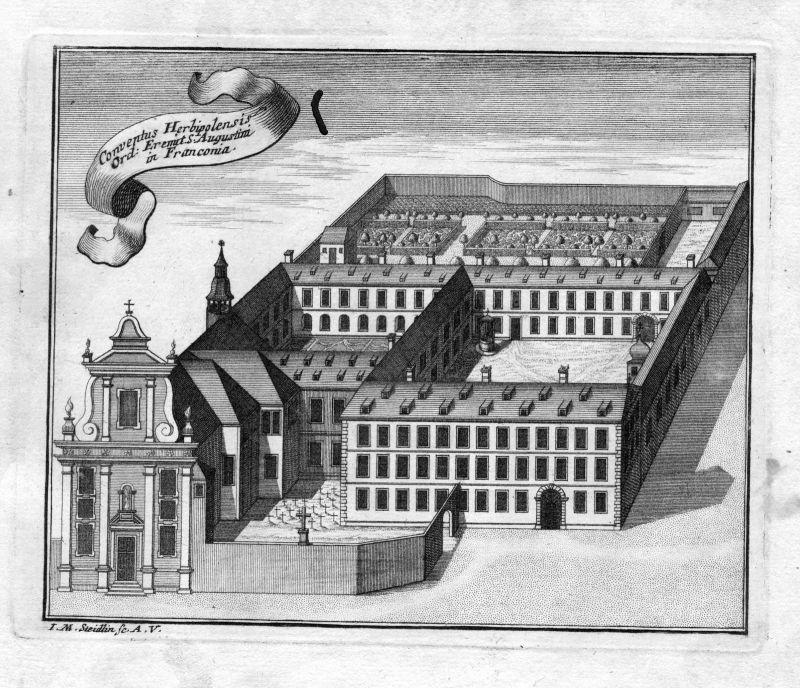 1731 Würzburg Bayern Augustiner Kloster Kupferstich antique print Steidlin 0
