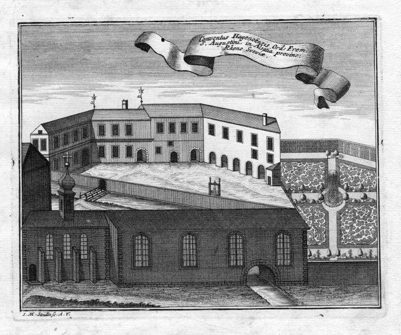 1731 Haguenau Augustiner Kloster Kupferstich gravure antique print Steidlin