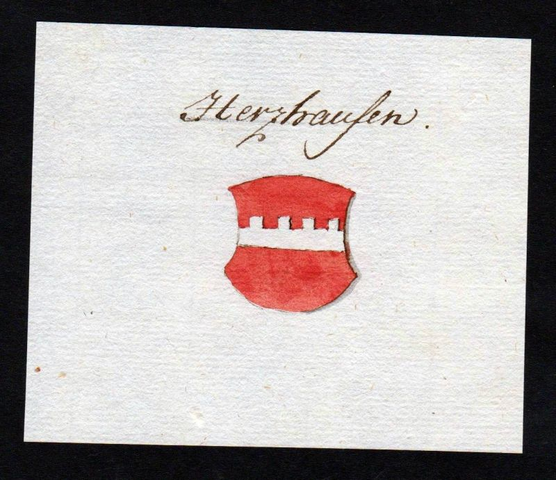 18. Jh. Herzhausen Handschrift Manuskript Wappen manuscript coat of arms