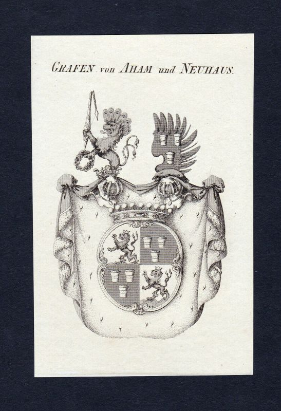 1820 Aham Neuhaus Wappen Adel coat of arms Heraldik Kupferstich engraving 0