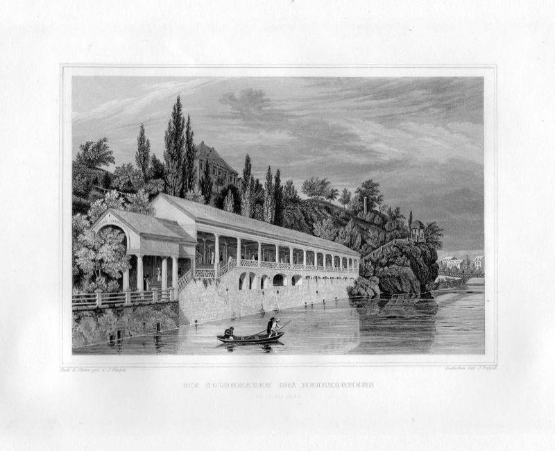 1850 Die Colonnaden des Neubrunnens in Carlsbad / Karlsbad Stahlstich Poppel 0