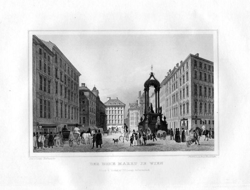 1850 Der Hohe Markt Wien Vienna Österreich Stahlstich Höfer Hoffmeister 0