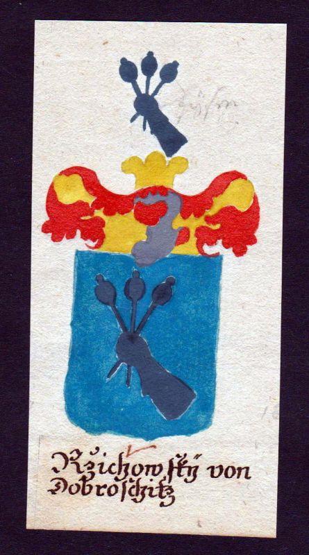 18. Jh. Rzichowsky von Dobroschitz Böhmen Manuskript Wappen Adel coat of arms 0