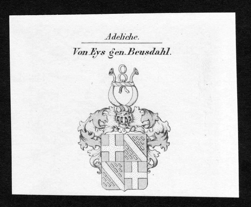 Ca.1820 Eys Beusdahl Beusdael Wappen Adel coat of arms Kupferstich antique print 0
