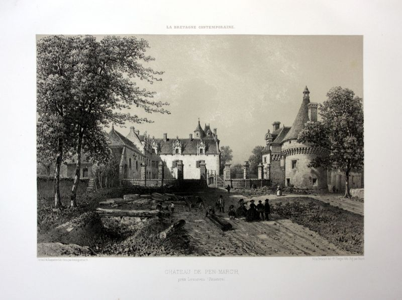 Ca. 1870 Chateau Penmarch vue Bretagne France estampe Lithographie lithograph