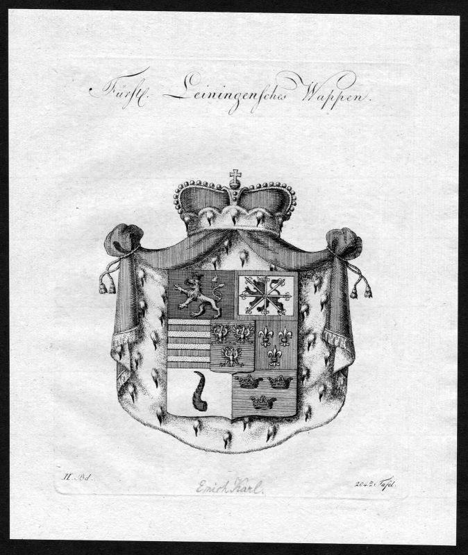 1790 - Leiningen Wappen Adel coat of arms heraldry Heraldik Kupferstich