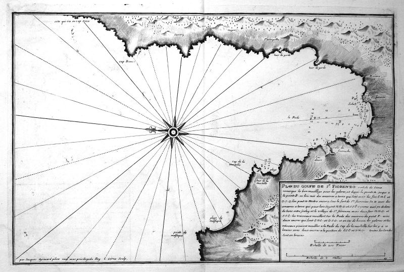 1732 Saint-Florent Corse map carte Karte Kupferstich antique print Ayrouard