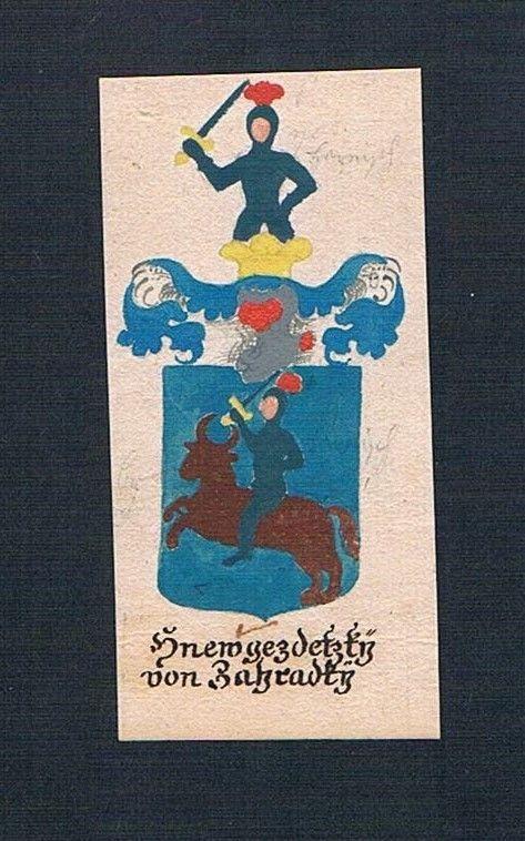 18. Jh. Hnewgezdetzky von Zahradky Böhmen Manuskript Wappen Adel coat of arms 0