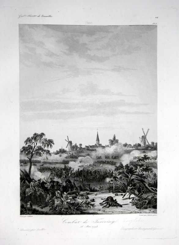 Ca. 1840 Tourcoing bataille battle Ansicht vue estampe Stahlstich antique 145953 0