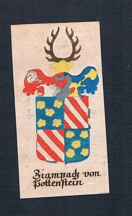 18. Jh. Zapach von Pottenstein Böhmen Manuskript Wappen Adel coat of arms 0